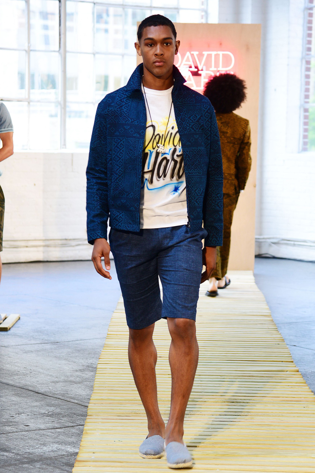 Mandatory Credit: Photo by Aurora Rose/WWD/REX/Shutterstock (5754822dr) Model on the catwalk David Hart presentation, Spring Summer 2017, New York Fashion Week: Men's, USA - 11 Jul 2016