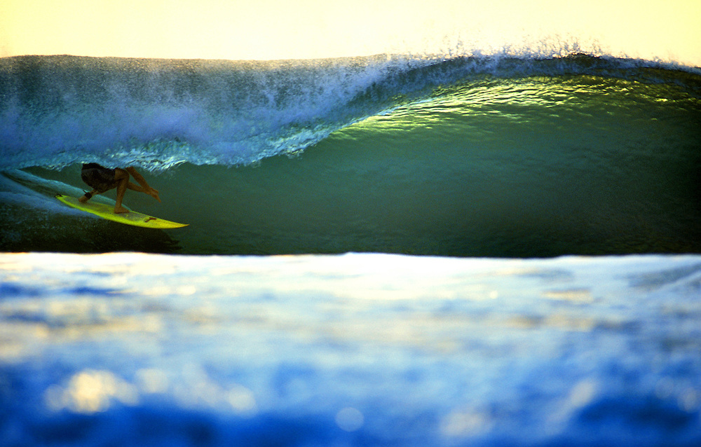 Slotted in the one of the worlds best barrels, Desert Point 2003