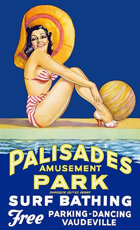 Vintage Palisades Amusement Park, NJ USA Travel Posters Print The park was directly across the Hudson River